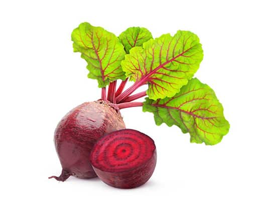 Beetroot , edible dark red spherical root of a kind of beet, eaten as a vegetable. In a 100-gram amount providing 43 calories.