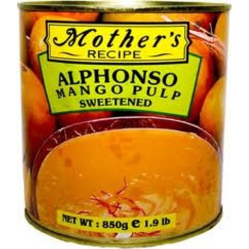 Mothers Recipe Alphanso Mango mature Alphonso mangoes from Ratnagiri which are naturally grown and ripene. Alphonso mango pulp ideal for making milk shakes